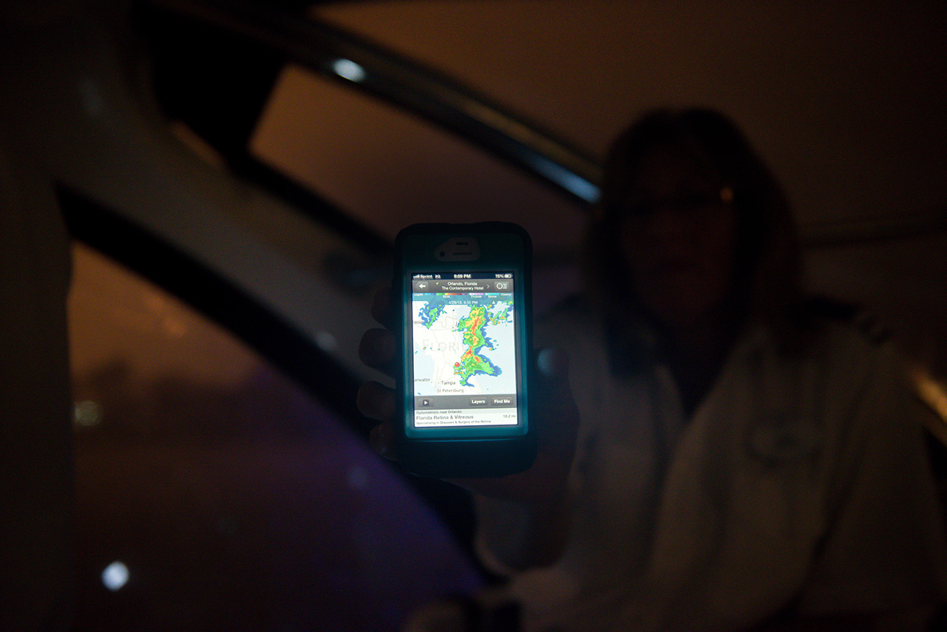 Kris showing me the live radar
