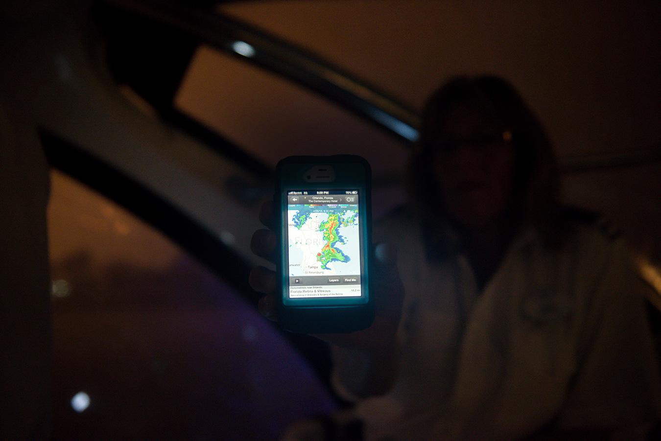 Kris showing me the live radar